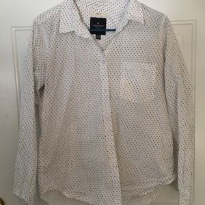 American Eagle Heart-Pattered Prep-Fit Button Up